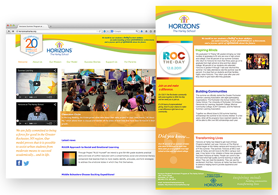 Messaging guide, Website Redesign, and E-Newsletter for the Horizons Student Enrichment program at The Harley School.